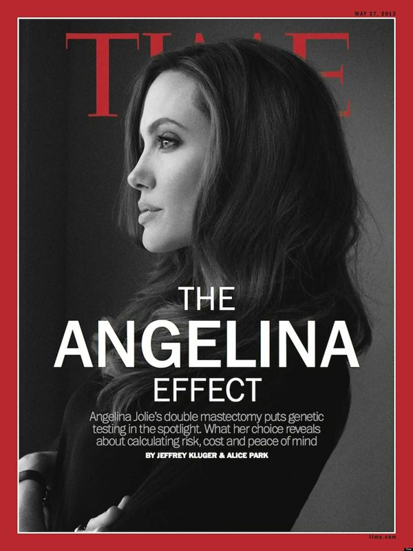 Angelina Jolie Then & Now Photos: Magazine Covers -  black and white - Time Magazine (May 2013)