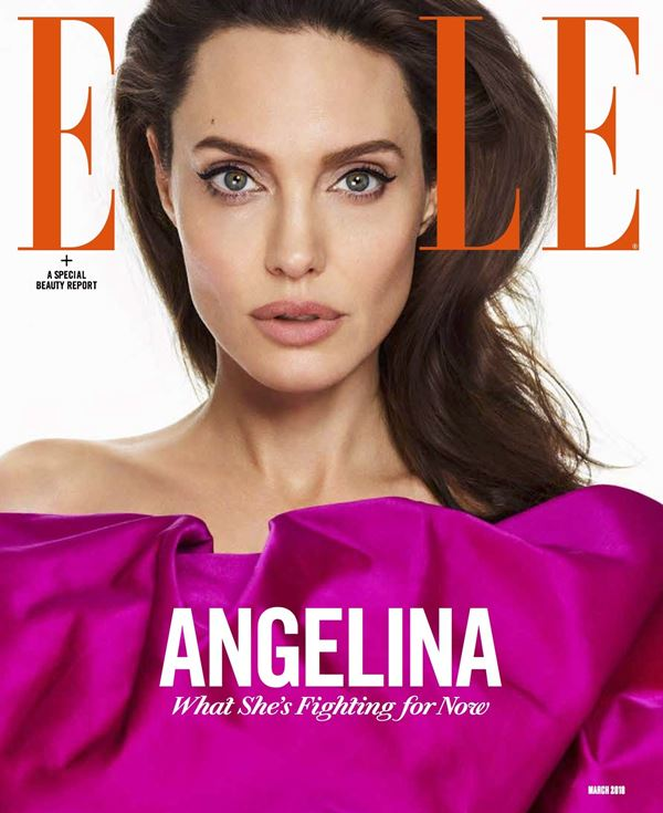 Angelina Jolie Then & Now Photos: Magazine Covers - fuchsia dress - Elle US (March 2018)